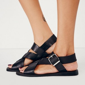 Women's Black Buckle Comfortable Flats Sandals