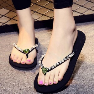Black Beach Sandals Summer Rhinestone Flip Flops US Size 3-15