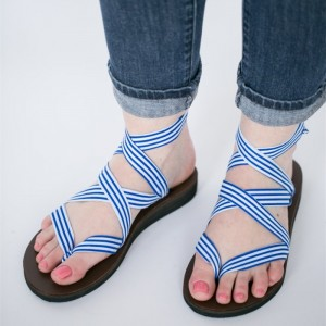Women's White and Blue Sripe Open Toe Commuting Flats Strappy Sandals