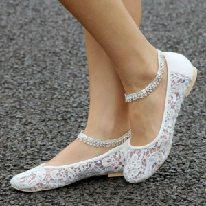 Women's White Lace Wedding Shoes Round Toe Ankle Strap Bridal Shoes