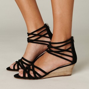 Women's Black Strappy Wedge Heels Sandals