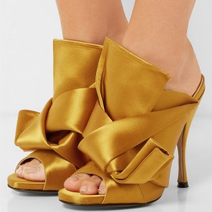 Women's Yellow Commuting Stiletto Heels Open Toe Mule Sandals