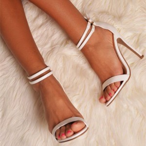 Women's White Stiletto Heels Buckle Open Toe Ankle Strap Sandals