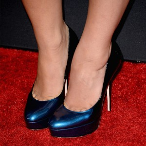 Navy Platform Heels Patent Leather Pumps for Women