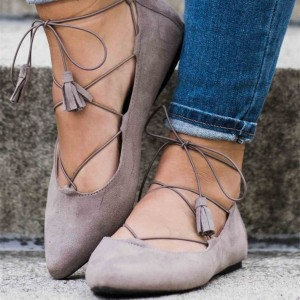 Grey Strappy Shoes Suede Lace up Flats Comfy Shoes for Women