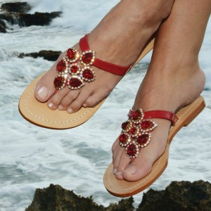 Red Jeweled Beach Sandals Summer Flat Flip Flops US Size 3-15