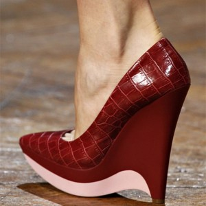 Burgundy Closed Toe Wedges Croco Platform Pumps