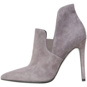 Grey Stiletto Boots Suede Pointy Toe Heels Ankle Booties For Women