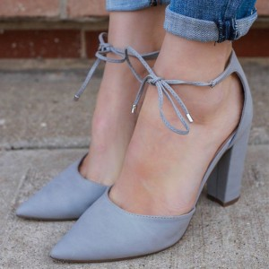 Women's Grey Chunky Heels Dress Shoes Pointy Toe Lace Up Pumps