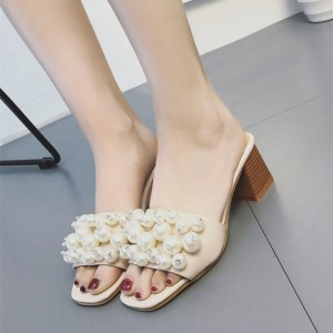 Women's Nude Open Toe Dress Shoes Chunky Heels Mules Sandals Decorated with Pearl