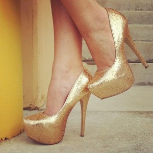 Women's Gold Heels Dress Shoes Platfrom Stiletto Heels Glitter Pumps