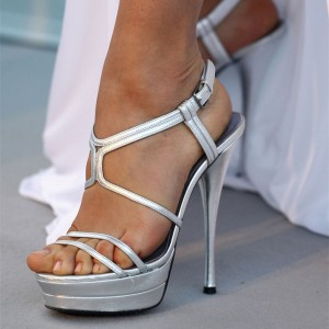 Women's Silver Open Toe Stiletto Heels Platform Strappy Ankle Strap Sandals