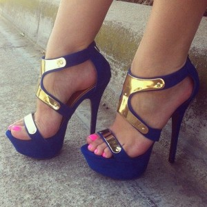 Women's Royal Blue Heels Open Toe Platform Sandals