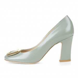 Women's Cyan Chunky Heels Dress Shoes Patent Leather Metal Square Toe Pumps