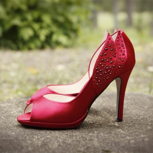 Red Satin Evening Shoes Peep Toe Rhinestone D'orsay Pumps for Prom