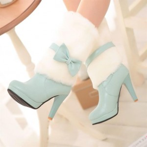 Women's Cyan Platform Heels Fluffy Mid-calf Boots for Cold Weather