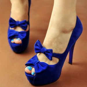 Women's Royal Blue Platform Heels Stiletto Heels Dress Shoes Party Pumps