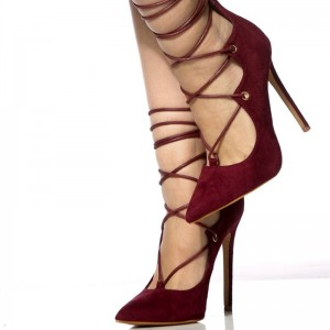 Burgundy Strappy Heels Lace up Suede Pumps Stietto Heel Taupe Shoes