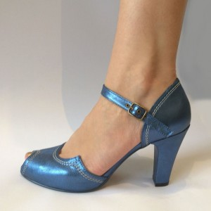 Women's Blue Patent Leather Chunky Heels Buckle Peep Toe Pumps