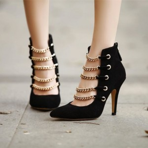 Women's Lelia Black Fashion Boots Suede Stiletto Heels Pointy Toe Metal Chain Ankle Booties