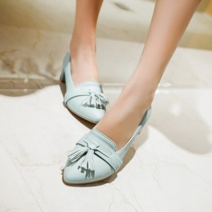 Women's Cyan Pointy Toe Chunky Heels Tassel-Fringe Comfortable School Shoes