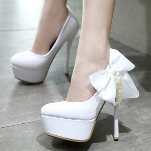 Women's Lillian White Platform  Heels Wedding Shoes Decorated with Pearl and Bow