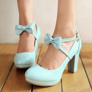 Women's Cyan Round Toe Chunky Heels Cross-over Strap Pumps with Bow