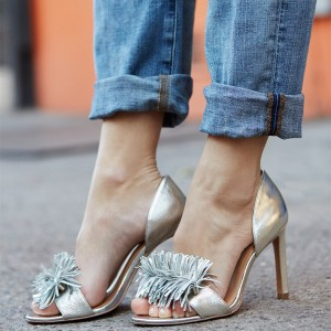 Silver Metallic Fringe Sandals Open Toe Stiletto Heels US Size 3 -15