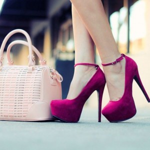 Magenta Platform Stiletto Heels Suede Almond Toe Ankle Strap Pumps