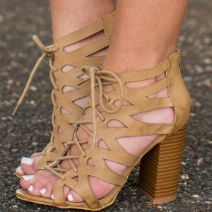 Women's Brown Peep Toe Strappy Heels Lace Up Chunky Heels Sandals