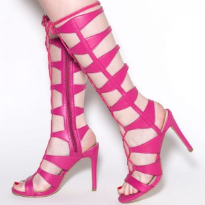 Hot Pink Lace up Sandals Mid-calf Gladiator Heels for Women