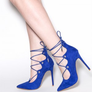 Royal Blue Lace up Heels Suede Pointy Toe Strappy Stiletto Heel Pumps