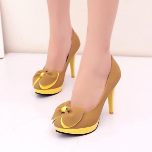 Yellow Bow Heels Suede Platform Cute Stiletto Heel Pumps