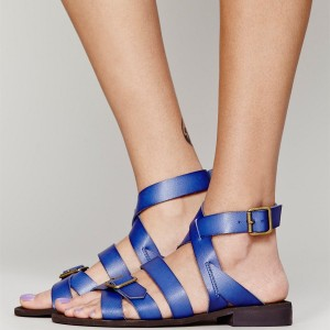 Women's Blue  Buckle  Flats Gladiator Sandals
