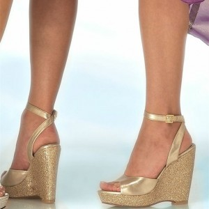 Women's Golden  Ankle Strap Buckle Stilettos Heel Wedge Platform Sandals