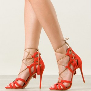 Orange Strappy Sandals Tassels Lace up Stiletto Heels for Women