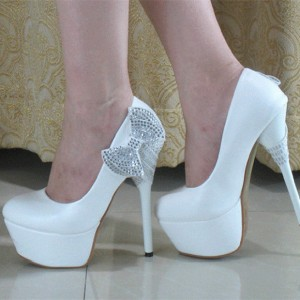 Women's White Platform Heels  Formal Dress Shoes Stiletto Heels Pumps