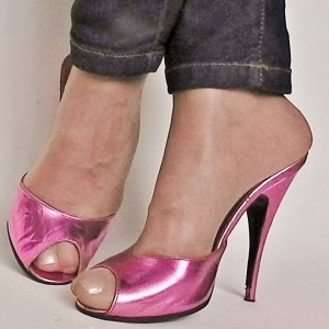 Fuchsia Mirror Leather Mule Heels Peep Toe Chunky Heels US Size 3-15