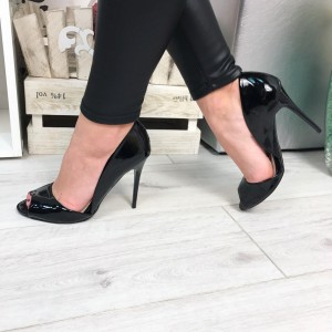 Black Patent Leather Peep Toe Heels Stiletto Heel Double D'orsay Pumps
