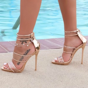 Women's Champagne Gladiator Sandals  Stilettos High Heels
