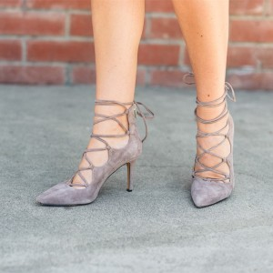 Women's Grey Strappy Heels Pointy Toe Suede Stilettos Pumps