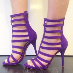 Women's Purple Gladiator Sandals Open Toe Strappy Stiletto Heels