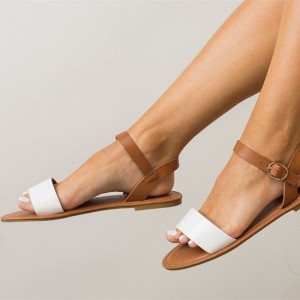 Women's White and Brown Ankle Strap Buckle Flats Sandals