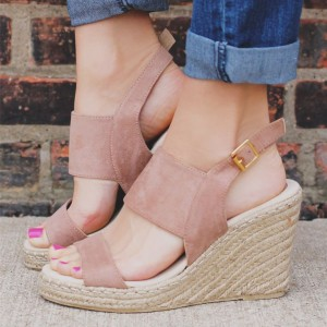 Blush Suede Wedge Sandals Open Toe Slingback Shoes