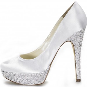 Women's White with Rhinestone Stiletto Heels Wedding Shoes