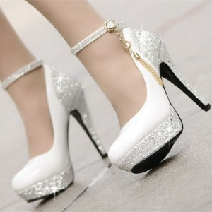 Women's White Platform Heels Ankle Straps Sequined Stiletto Heel Pumps