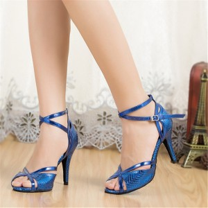 Women's Blue Heels Peep toe Ankle strap Buckle Sandals