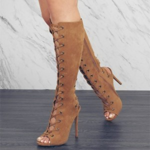 Tan Lace Up Retro Stiletto Heels Slingback Suede Knee-high Boots