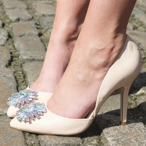 Beige Wedding Heels Rhinestone Stiletto Heel Double D'orsay Pumps