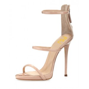 Nude Strappy Sandals Open Toe Stiletto Heels Ankle Strap Sandals